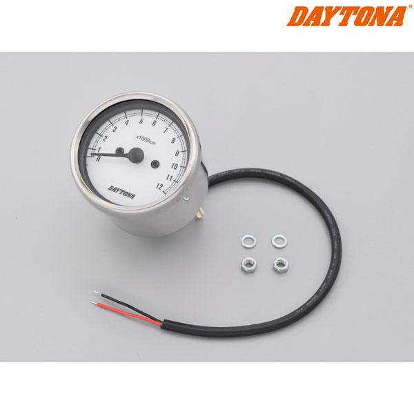 DAYTONA 15642 機械式タコメーター φ60 ホワイトLED照明 ステンレスボディ/ホワイトパネル