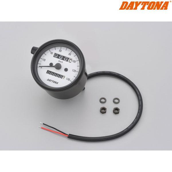 DAYTONA 15624 機械式スピードメーター φ60 ホワイトLED照明 ブラックボディ/ホワイトパネル