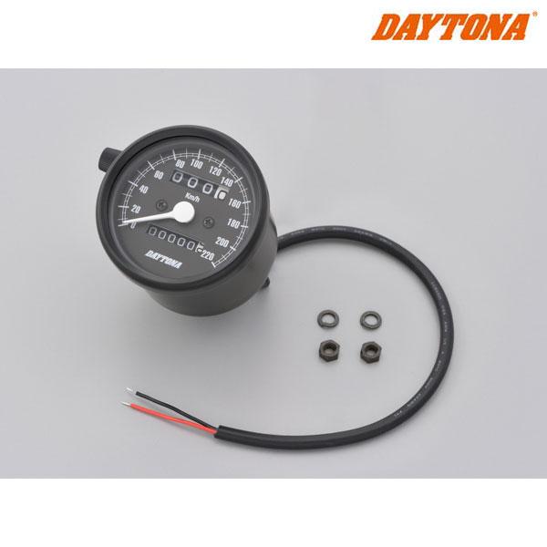 DAYTONA 15623 機械式スピードメーター φ60 ホワイトLED照明 ブラックボディ/ブラックパネル