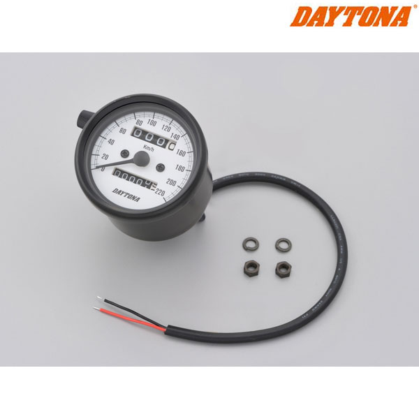 DAYTONA 15625 機械式スピードメーター φ60 ホワイトLED照明 ブラックボディ/ホワイトパネル