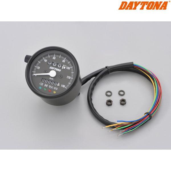 DAYTONA 15626 機械式スピードメーター φ60 ホワイトLED照明 ブラックボディ/ブラックパネル インジケーター付き