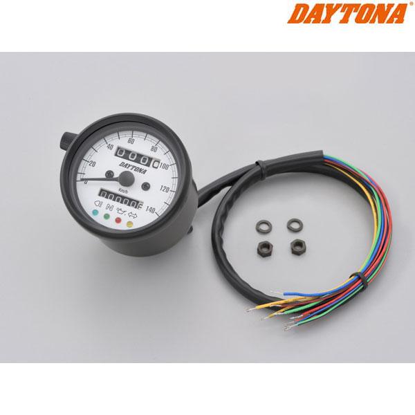 DAYTONA 15628 機械式スピードメーター φ60 ホワイトLED照明 ブラックボディ/ホワイトパネル インジケーター付き