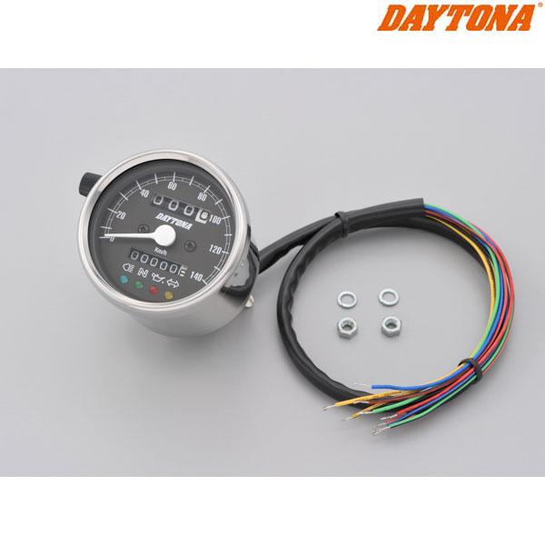 DAYTONA 15637 機械式スピードメーター φ60 ホワイトLED照明 ステンレスボディ/ブラックパネル インジケーター付き