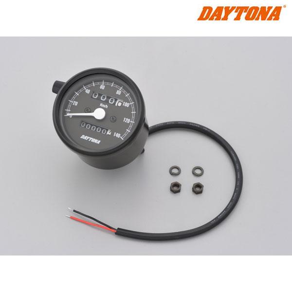 DAYTONA 15621 機械式スピードメーター φ60 ホワイトLED照明 ブラックボディ/ブラックパネル