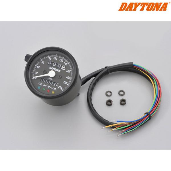 DAYTONA 15627 機械式スピードメーター φ60 ホワイトLED照明 ブラックボディ/ブラックパネル インジケーター付き