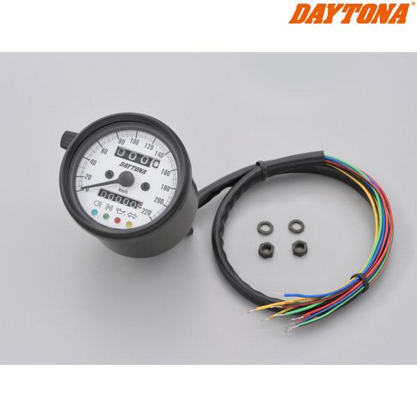 DAYTONA 15629 機械式スピードメーター φ60 ホワイトLED照明 ブラックボディ/ホワイトパネル インジケーター付き