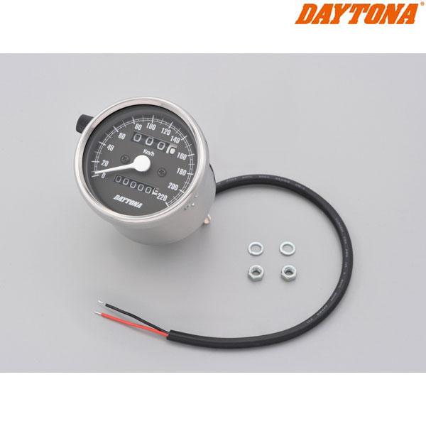 DAYTONA 15634 機械式スピードメーター φ60 ホワイトLED照明 ステンレスボディ/ブラックパネル