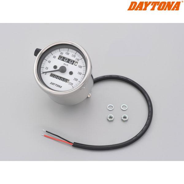 DAYTONA 15636 機械式スピードメーター φ60 ホワイトLED照明 ステンレスボディ/ホワイトパネル