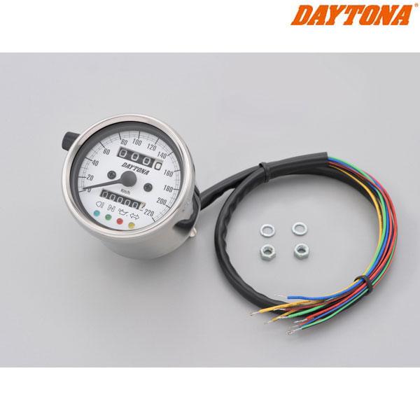 DAYTONA 15640 機械式スピードメーター φ60 ホワイトLED照明 ステンレスボディ/ホワイトパネル インジケーター付