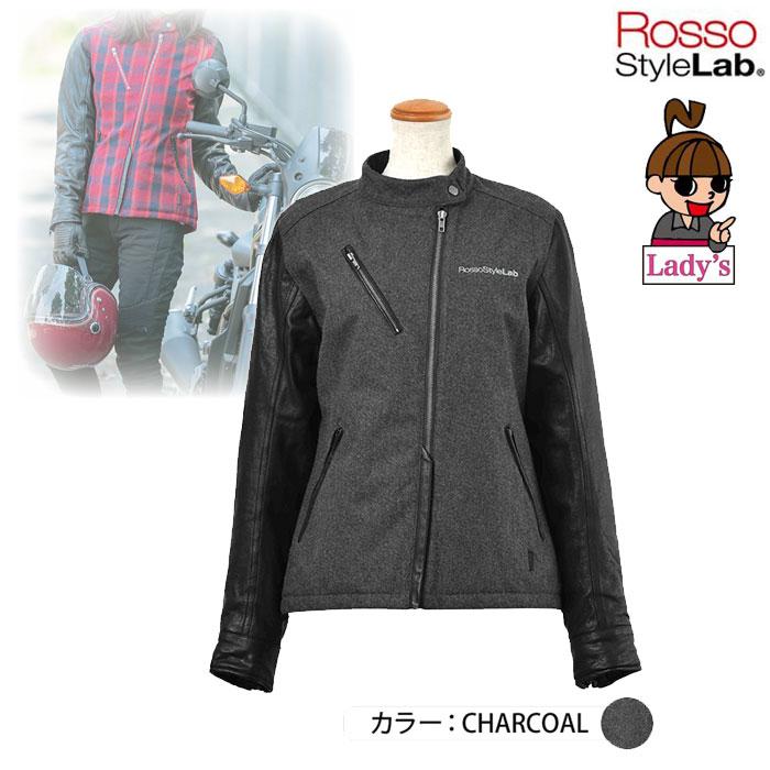 J-AMBLE (レディース) ROJ-978 メルトンレザースリーブジャケット CHARCOAL ◆全2色◆