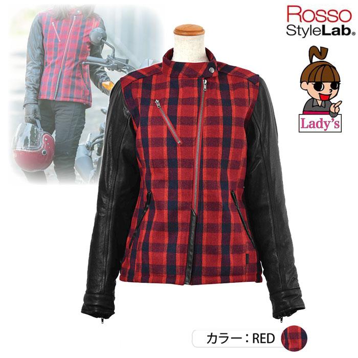 J-AMBLE (レディース) ROJ-978 メルトンレザースリーブジャケット RED ◆全2色◆