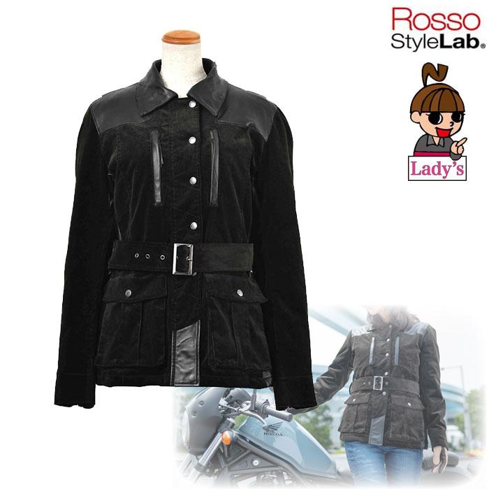 J-AMBLE (レディース) ROJ-979 パーシャルレザーコーデュロイジャケット MOCA GRAY ◆全2色◆