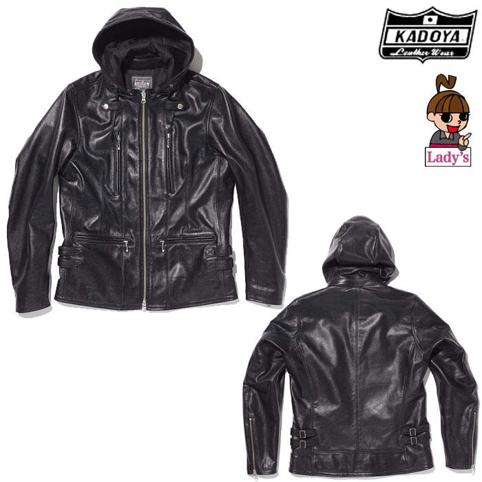KADOYA (レディース)1190 EURO CAPP レザージャケット フード ブラック◆全3色◆