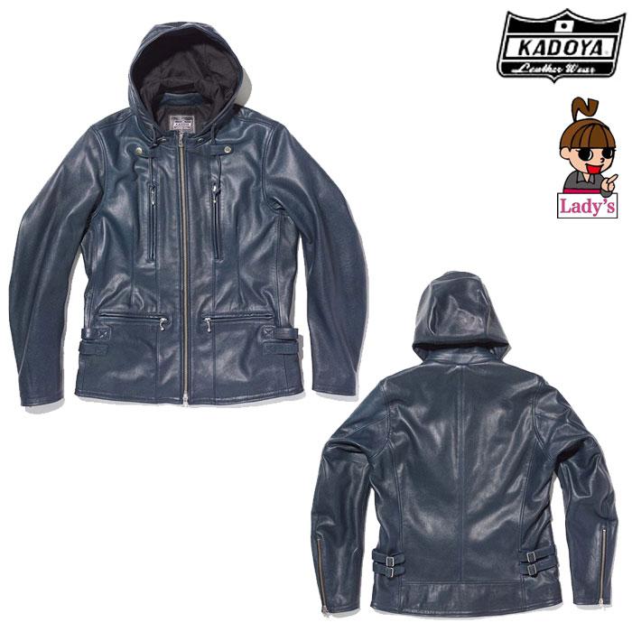 KADOYA (レディース)1190 EURO CAPP レザージャケット フード ネービー◆全3色◆