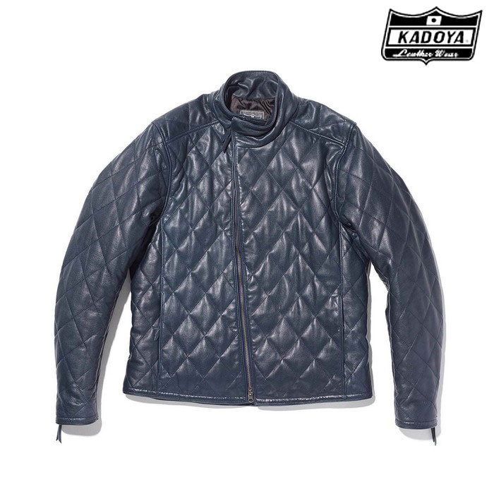 KADOYA (大きいサイズ)1191 DB9 レザージャケット ネイビー◆全3色◆