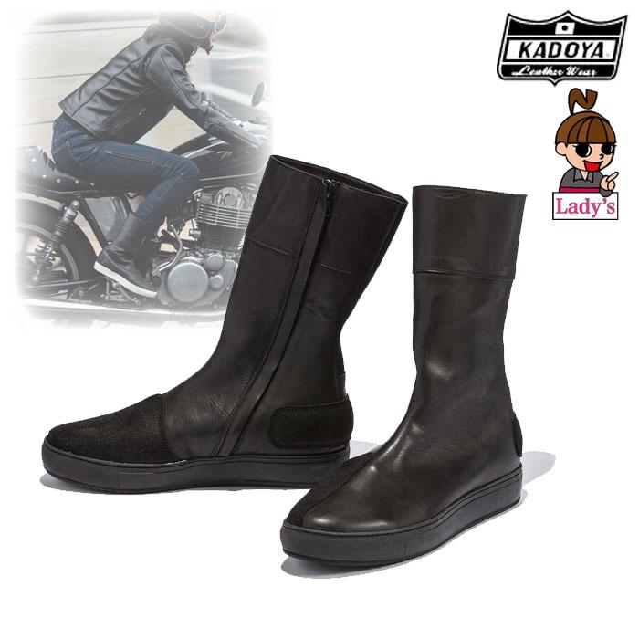 KADOYA (レディース)4330 LEATHER HIGH SNEAKER レザーブーツスニーカー ブラック/ブラック ◆全3色◆