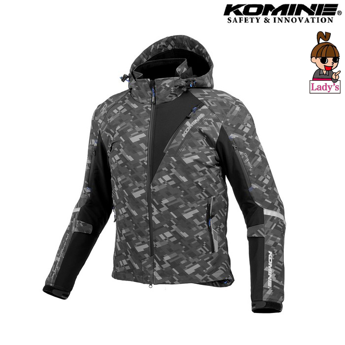 komine (レディース)JK-579 プロテクトソフトシェルウィンターパーカ IFU 『イフ』 防寒 防風 着脱可能保温インナー付 プレイドブラック ◆全11色◆