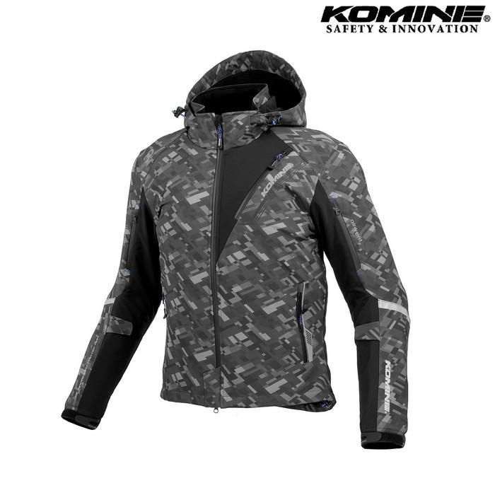 komine JK-579 プロテクトソフトシェルウィンターパーカ IFU 『イフ』 防寒 防風 着脱可能保温インナー付 プレイドブラック ◆全11色◆