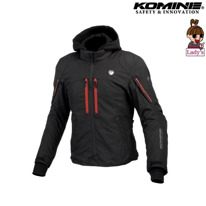 komine レディース JK-608 ハイプロテクトウインターパーカ ブラック/レッド ◆全3色◆
