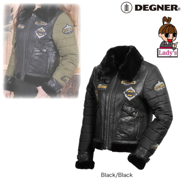 (レディース)FR20WJ-14 アビエーターレザージャケット ブラック/ブラック◆全2色◆