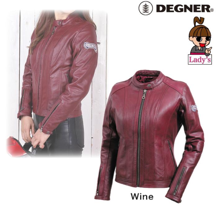 DEGNER (レディース)FR20WJ-13 シングルライダースレディースレザージャケット ワイン◆全2色◆