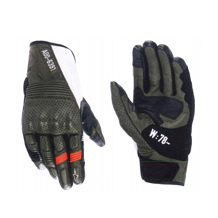 alpinestars 3566221 AS-DSL KEI LEATHER GLOVE FOREST BLACK WHITE RED FLUO(6123) ◆全2色◆