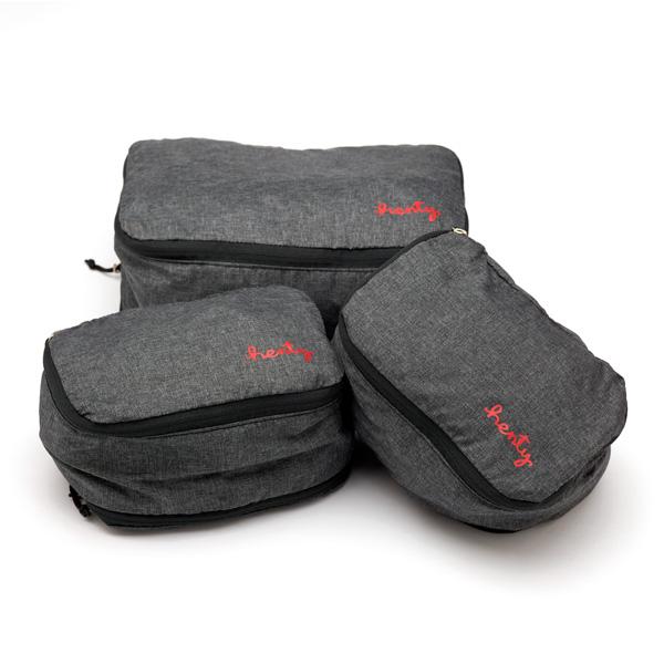 Henty Packing Cube Set パッキング キューブ セット パッキングオーガナイザー 3個セット(Mサイズx1、Sサイズx2)グレー
