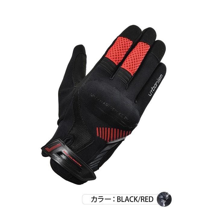 J-AMBLE (レディース)UNG-238 アーバンプロテクトメッシュグローブ ブラック/レッド◆全4色◆
