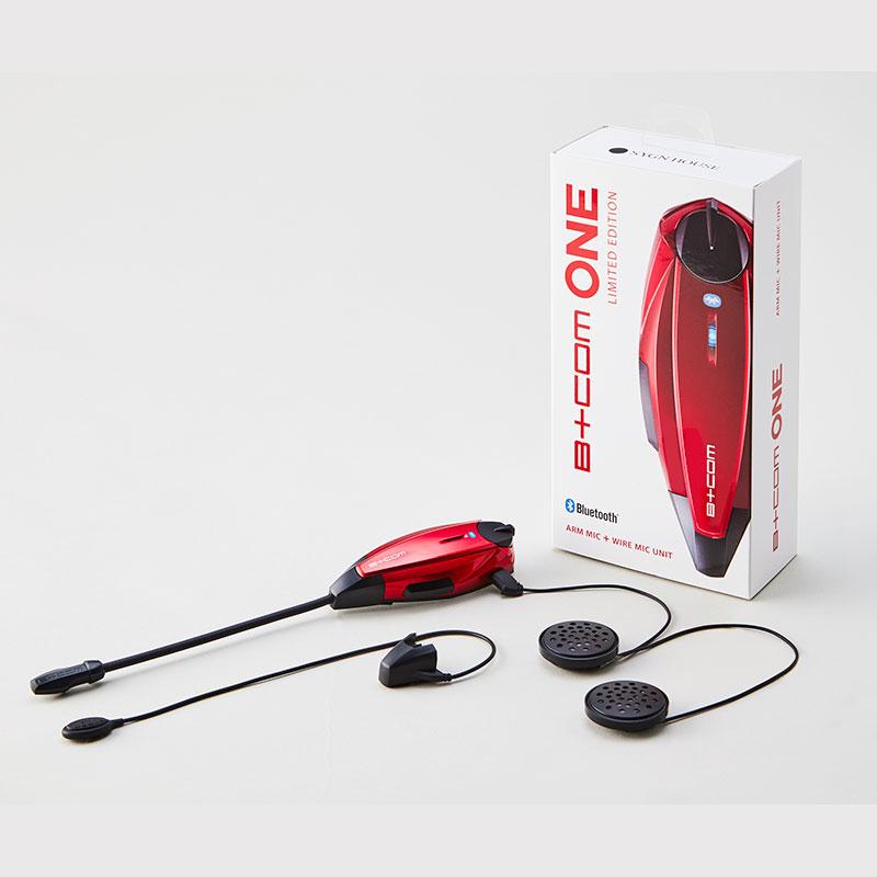 SygnHouse インカム B+COM ONE Ruby Red(限定カラー) アームマイク+ ワイヤーマイクユニット 最大6人通話可能!高音質のスタンダードモデル