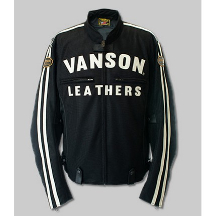 VANSON VS21105S MESH RIDERS JACKET ブラック/ホワイト ◆全4色◆