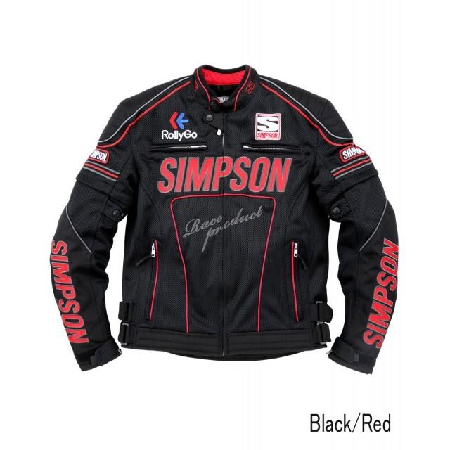 SIMPSON NSM-2102 メッシュライダースジャケット ブラック/レッド◆全4色◆