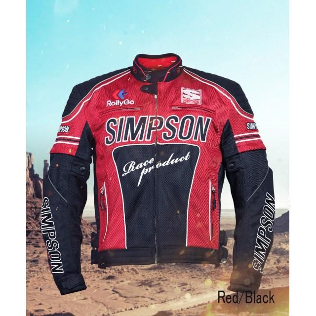 SIMPSON NSM-2102 メッシュライダースジャケット レッド/ブラック◆全4色◆
