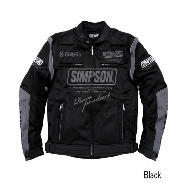 SIMPSON NSM-2103 メッシュライダースジャケット ブラック◆全5色◆