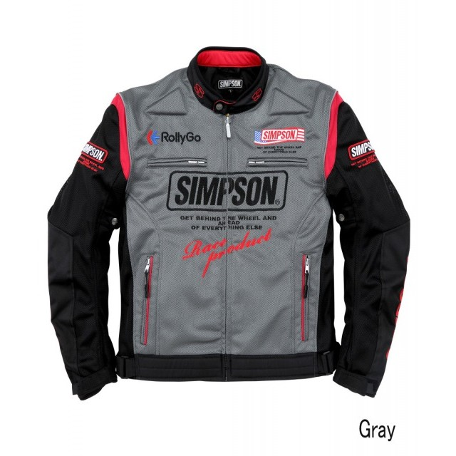 SIMPSON NSM-2103 メッシュライダースジャケット グレイ◆全5色◆