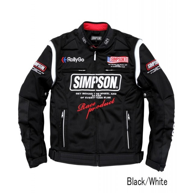SIMPSON NSM-2103 メッシュライダースジャケット ブラック/ホワイト◆全5色◆