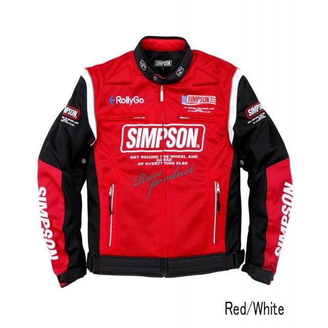 SIMPSON NSM-2103 メッシュライダースジャケット レッド/ホワイト◆全5色◆