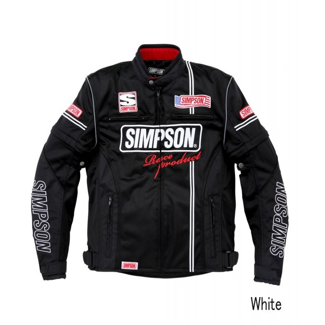SIMPSON NSM-2104 メッシュライダースジャケット ホワイト◆全4色◆