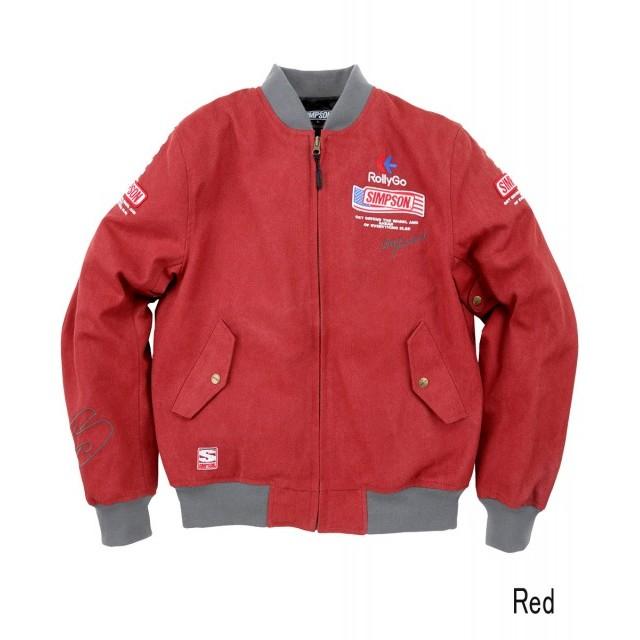 SIMPSON NSM-2107 ボンバーライダースジャケット レッド◆全4色◆
