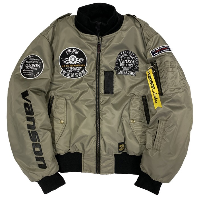 VANSON VS21104W MA-1ジャケット ベージュ/ブラック◆全4色◆