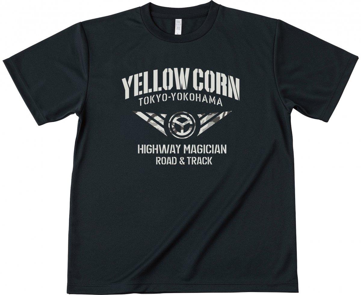 Yellow Corn YT-020 クールドライTシャツ ブラック◆全2色◆