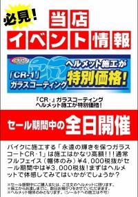 11月19日(土)~12月11日(日)「CR-1」ガラスコーティングのヘルメット施工が特別価格!